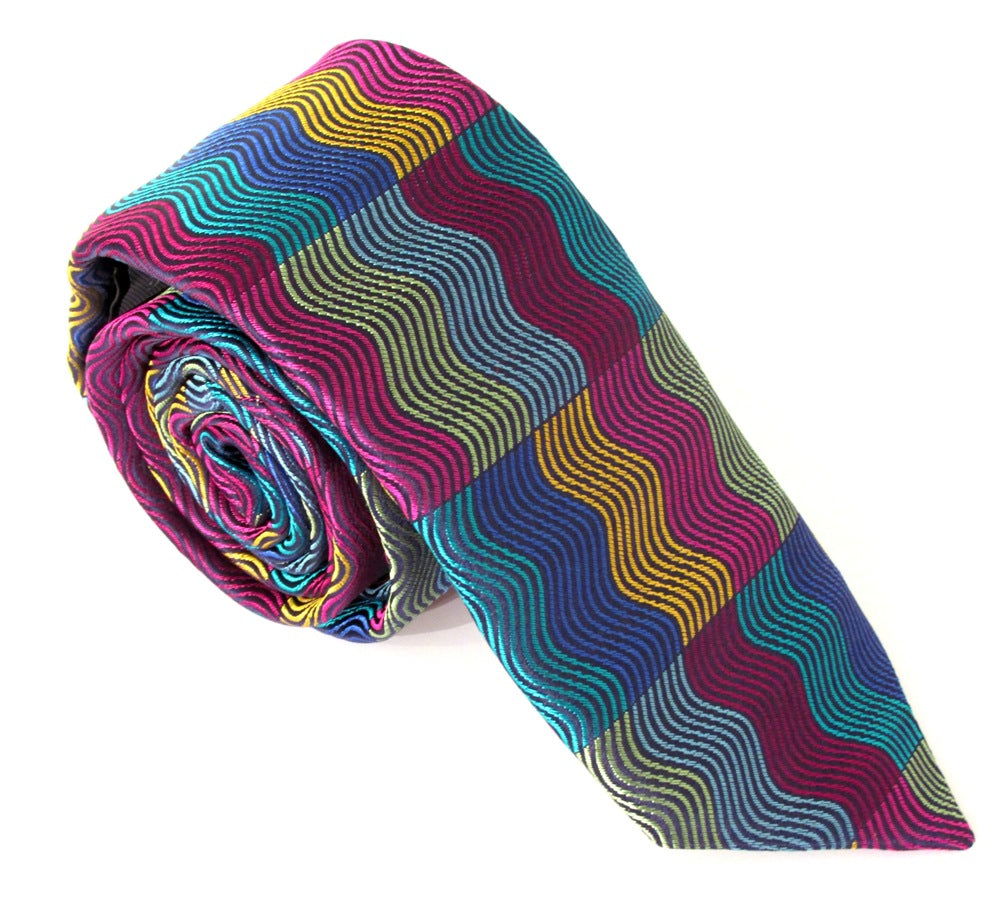 Limited Edition Multicoloured Vertical Wave Rectangles Silk Tie by Van Buck