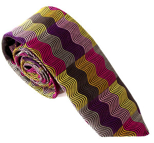 Limited Edition Purple Vertical Wave Rectangles Silk Tie by Van Buck