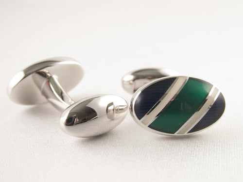 Limited Edition Oval Cufflinks with Green Stripe by Van Buck