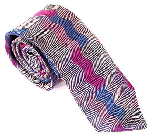 Limited Edition Pink Vertical Wave Rectangles Silk Tie by Van Buck
