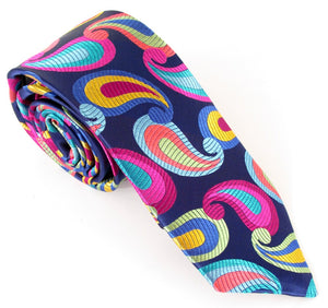 Limited Edition Navy Blue with Bright Multicoloured Large Teardrop Paisley Silk Tie by Van Buck