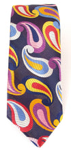 Limited Edition Navy Blue with Pastel Multicoloured Large Teardrop Paisley Silk Tie by Van Buck