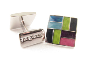 Limited Edition Navy Square Cufflinks with Multicoloured Blocks by Van Buck