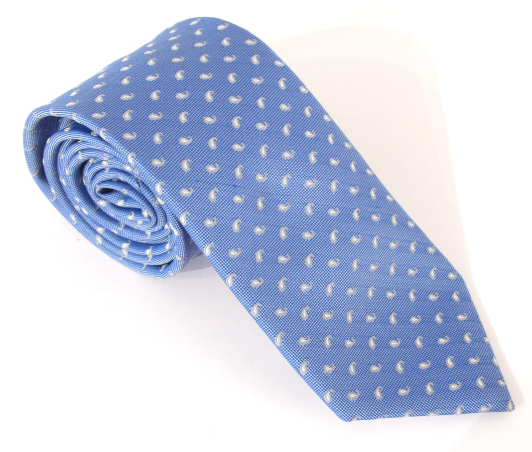 Small Sky Blue Paisley Fancy Tie by Van Buck