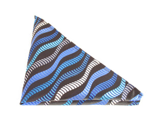 Limited Edition Blue Wave Silk Pocket Square by Van Buck