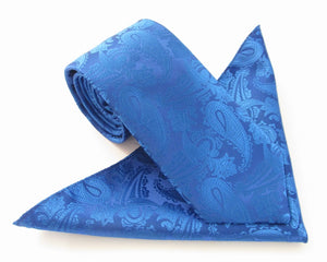 Royal Blue Paisley Tie & Pocket Square by Van Buck