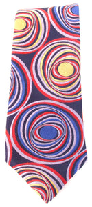 Limited Edition Navy with Purple & Red 3D Circles Silk Tie by Van Buck