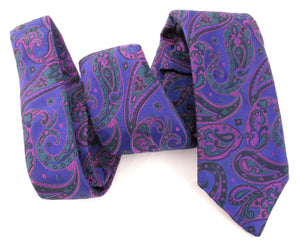 Limited Edition Big Purple Paisley Silk Tie by Van Buck