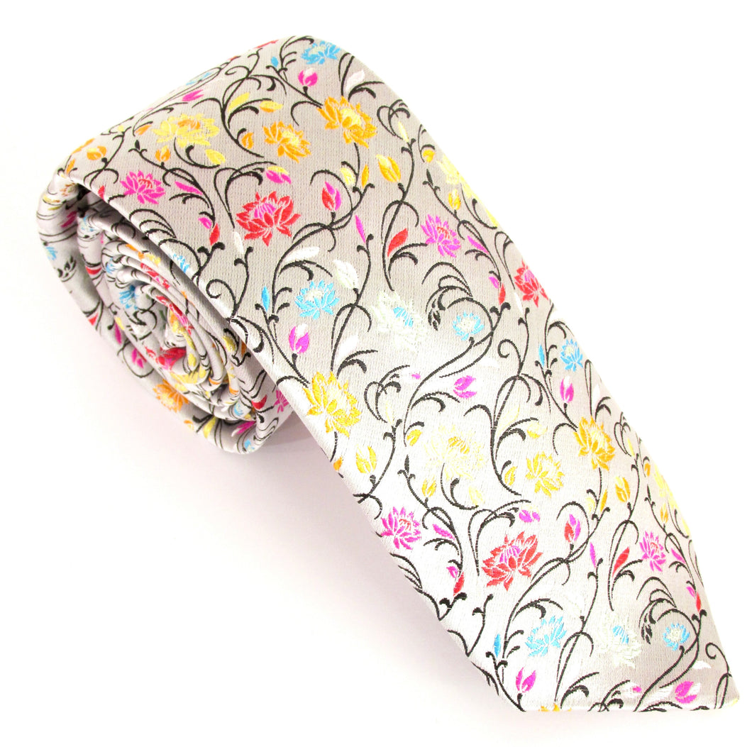 Limited Edition Silver Vine Silk Tie by Van Buck