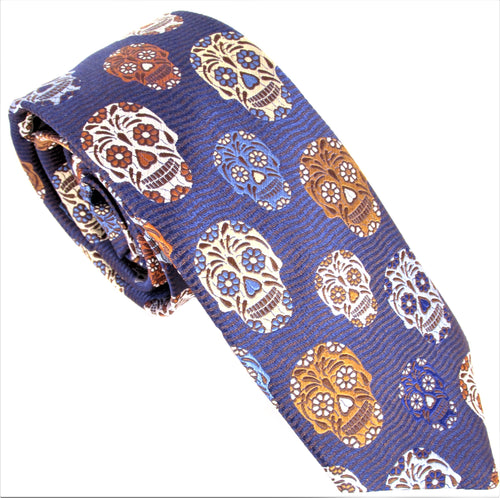 Limited Edition Navy & Brown Wave with Brown Skull Silk Tie by Van Buck