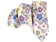 Limited Edition Silver with Multicoloured Large Pansy Silk Tie by Van Buck