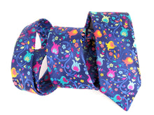 Limited Edition Navy Blue with Bright Multicoloured Tulip & Vine Silk Tie by Van Buck