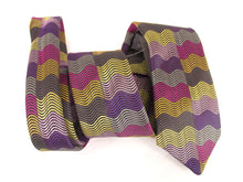 Limited Edition Purple Horizontal Wave Rectangles Silk Tie by Van Buck