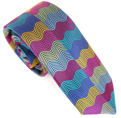 Limited Edition Multicoloured Horizontal Wave Rectangles Silk Tie by Van Buck
