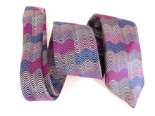 Limited Edition Pink Horizontal Wave Rectangles Silk Tie by Van Buck