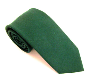Bottle Green Plain Wool Tie by Van Buck