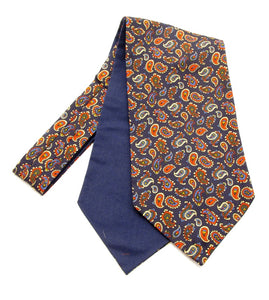 Navy Blue Paisley Silk Cravat by Van Buck