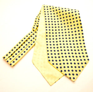 Yellow and Navy Polka Dot Silk Cravat by Van Buck