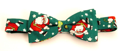 Green Dancing Santa Christmas Cotton Tie by Van Buck