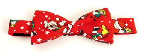 Red Dancing Santa Christmas Bow Tie