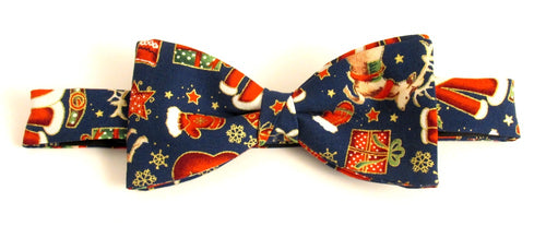Navy Festive Christmas Bow Tie by Van Buck