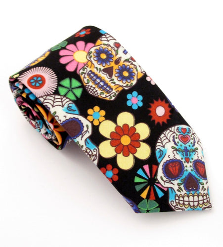 Day of the Dead Fun Skull Cotton Tie by Van Buck
