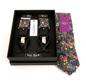 Elderberry Tie & Trouser Braces Set Made with Liberty Fabric