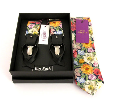Blooms Tie & Trouser Braces Set Made with Liberty Fabric