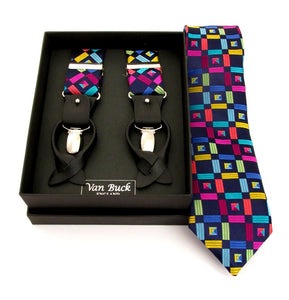 Limited Edition Navy Geometric Silk Tie & Trouser Braces Set