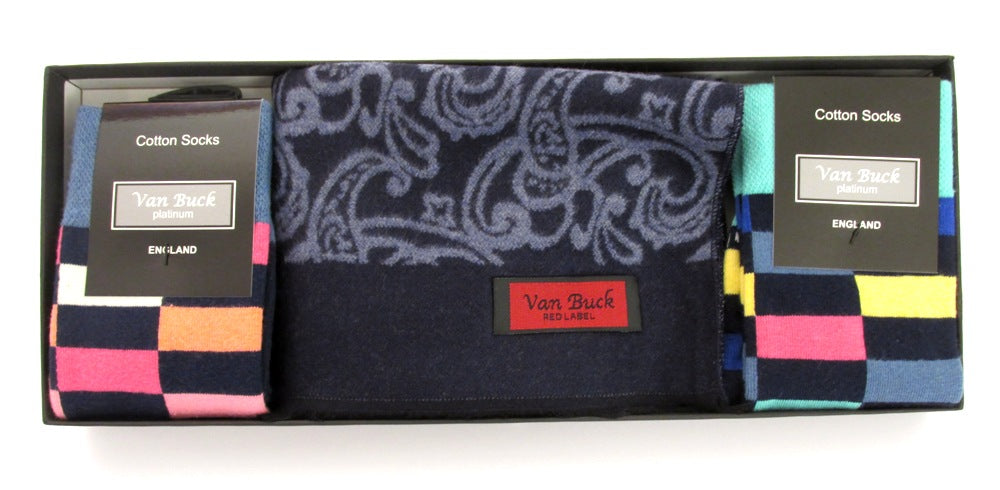 Blue Paisley Reversible Scarf & Block Socks Gift Set
