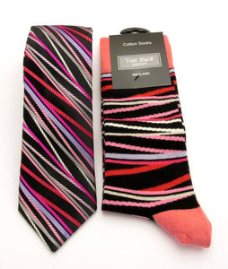 Van Buck Limited Edition Pink Stripe Tie & Socks Gift Set