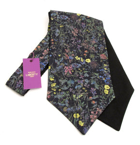 Wild Flowers Navy Cotton Cravat Made with Liberty Fabric
