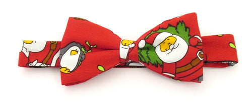 Red Santa Cotton Christmas Pre-Tied Bow by Van Buck