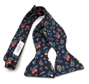Berry Garden Self Tie Bow Made with Liberty Fabric