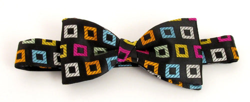 Van Buck Limited Edition Multicoloured Large Squares Silk Bow Tie
