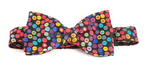 Van Buck Limited Edition Multicoloured Circles Silk Bow Tie