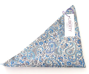 Charles Blue Cotton Pocket Square Made with Liberty Fabric