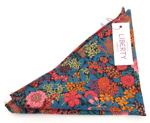 Ciara Orange Cotton Pocket Square Made with Liberty Fabric