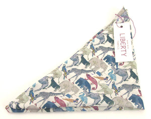 Queue For The Zoo Cotton Pocket Square Made with Liberty Fabric
