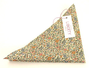 Katie & Millie Tan Cotton Pocket Square Made with Liberty Fabric