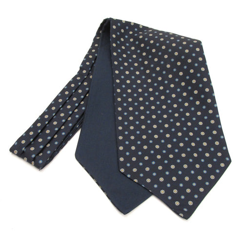 Navy Blue & White Neat Fancy Silk Cravat by Van Buck