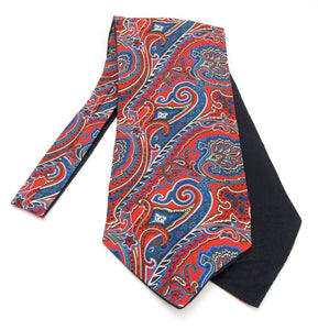 Red & Navy Large Paisley Fancy Silk Cravat by Van Buck