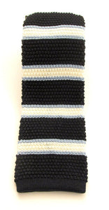 Navy & White Stripe Knitted Silk Tie by Van Buck