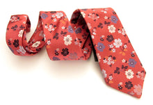 Limited Edition Dark Salmon Pink Floral Silk Tie by Van Buck