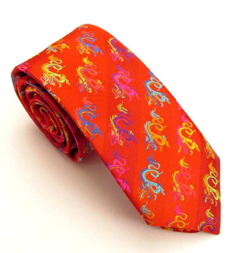 Limited Edition Bright Red Dragon Silk Tie by Van Buck Media 1 of 3