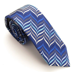 Limited Edition Blue Herringbone Silk Tie by Van Buck