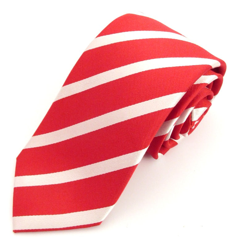 Striped Red With White Silk Tie