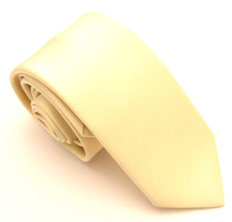Lemon Yellow Satin Wedding Tie By Van Buck