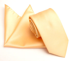 Peach Satin Wedding Tie and Pocket Square Set by Van Buck