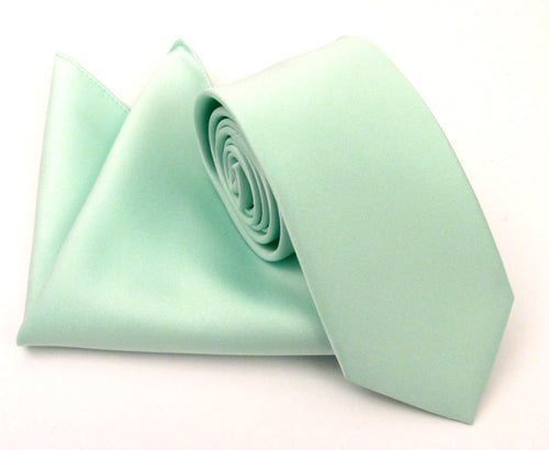 Mint Green Satin Wedding Tie and Pocket Square Set By Van Buck